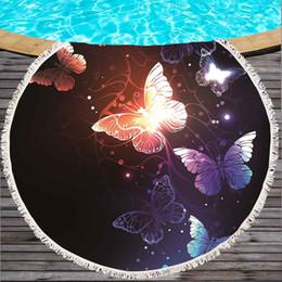 $enCountryForm.capitalKeyWord NZ - Butterfly Printed Large Round Beach Towel for Adult Microfiber Summer Soft Bath Towel Yoga Mat 150cm Blanket Absorbent Tapestry