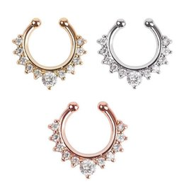 septum clicker nose ring UK - Vintage Fake Nose Ring Faux Piercing Body Jewelry Crystal Fashion Clicker Fake Septum for Women Body Clip Hoop