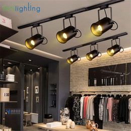 Vintage Track Switch NZ - 5W led Track light Vintage Black track lamp clothing store cob led Spotlights Industrial American Style Loft rail spot lamp