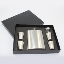 $enCountryForm.capitalKeyWord Australia - 6Pcs Set 8oz Stainless Steel Hip Flask Alcohol Whisky Flagon Outdoor Portable Pocket Hip Flask Gift Set 4Cup+1Funnel+1Hip