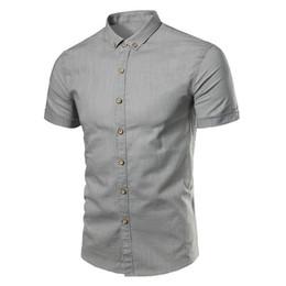 $enCountryForm.capitalKeyWord UK - ZEESHANT S-XXXL Men Summer Short Sleeve Shirt Linen Cotton Breathable Slim Fit Solid Dress Formal Shirt Chemise Homme