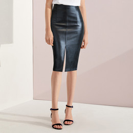 897bbf72e095d Leather Skirt Plus Size Women Skirts Black Bandage Midi Pencil Skirt Knee  Length Office High Waist Pu Leather Female 2018