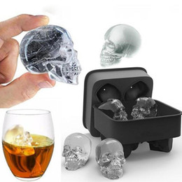 Free Shipping 3d Molds UK - Skull Shape 3D Ice Cube Mold Maker Black Silicone Party Ice Cube Mould Skull Mold Tray Chocolate Molds Free Shipping