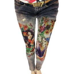 $enCountryForm.capitalKeyWord Australia - 3D Flowers Pattern Painted Woman Elegant Style Denim Pants Trousers 3D Print Painted Pattern Jeans Women's Stretch Skinny Jeans