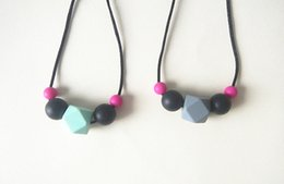 Silicone Teething Pendant Wholesalers Australia - Child Silicone Teething Necklace Simple Chew Beads Hexagon Pendant Necklace Safe Silicone Kids Toddlers Dress up Jewelry Necklace