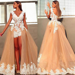 bride dresses detachable skirts NZ - Vintage Short Front Beach Boho Wedding Dresses With Detachable Train Skirt A Line Champagne Sleeveless V Neck Lace Bridal Gowns Bride Dress