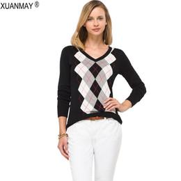 $enCountryForm.capitalKeyWord NZ - Autumn England Style Pullover Sweater Ladies Jacquard Pattern Sweater V-Neck Rhombus Plaid Pattern Knit Long-sleeved