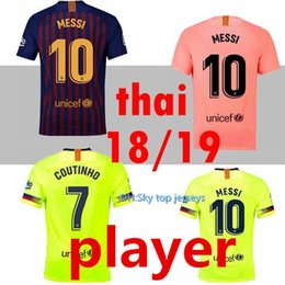 2f074b42002a9 VERSIÓN JUGADOR 2018 2019 Barcelona MESSI Soccer Jersey rosa hombre kits 18  19 Suárez DEMBELE COUTINHO camiseta de fútbol de calidad superior tailandesa