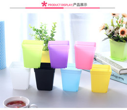 China Mini Colorful Flower Pots Plastic Flower Pots Desktop Potted Plants Succulents pot with Tray square candy colors planters garden home decor suppliers