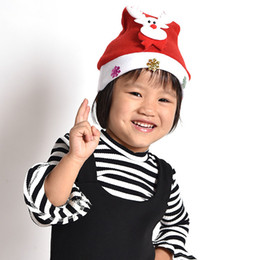 Reindeer Kids NZ - WHISM Flannelette Red Christmas Hat Children Adult Santa Claus Reindeer Snowman Cute Party Decoration Kids New Year's Gifts Cap