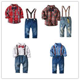Jeans kids suspenders boys online shopping - Boys Gentlemen Suit Long Sleeve Shirt Cotton Bow Tie Jeans Denim Pants Suspenders Kids Four piece Clothing Sets T B11