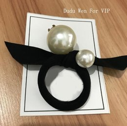 Big ladys online shopping - fashion C big pearls elastic hair rope with knot Ladys collection Item Fashion Hair Accessories big Pearl with Marks paper card party