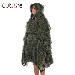 Ghillie suit clothinG online shopping - Outlife Camouflage Cloak Jungle Hunting Ghillie Suit Desert Woodland Sniper Birdwatching Poncho Durable Hunting Clothing Camouflage Ghillie