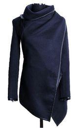 Wholesale coat casacos for sale – winter Trench Coat New Fashion Women Asymmetric Trench Women Winter Woolen Overcoat Woolen Coat Casacos Femininos S XXXL