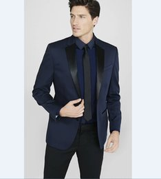 plus size navy blue suit Australia - Popular Groomsmen Notch Lapel Groom Tuxedos Navy Blue Men Suits Wedding Prom Best Man Blazer Bridegroom ( Jacket+Pants+ Tie ) M331
