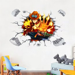anime room decor NZ - Cartoon Anime ONE PIECE 3D Stickers Ace Luffy Flame Straw Hat Wall Stickers PVC Self-adhesive Wallpapers Can Be Removable Boy Bedroom Decor