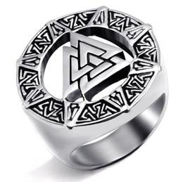 Men Ring Symbol NZ - Antique Silver Valknut Odin Symbol Signet Norse Viking Finger Rings For Men Amulet Runic Punk Biker Punk Jewelry Cool Men Rings
