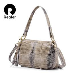 Discount red crocodile handbags - REALER flap genuine leather women handbag crocodile pattern bag female shoulder bag with tassel ladies messenger bag D18