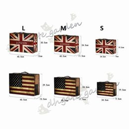 Wholesale England America Flag Style Vintage Suitcase Storage Box Old fashioned Decor Leather Wooden Zakka Case jewelry Organizer