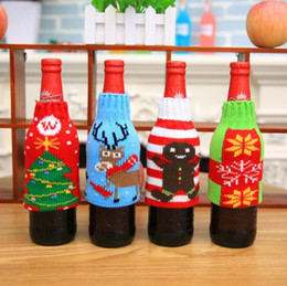 Wholesale Hot Christmas products New Style Christmas knitwear bottle glass sleeves Snowman beer bottles sleeves Christmas decorations T7I104