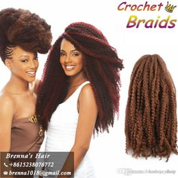 "Bulk Hair Braids NZ - Cheap Afro Kinky Marley Braiding Hair 18"" Bulk Curly Crochet Synthetic Braids Hair 30strands Soft Ombre Marley Braid Hair Colors"