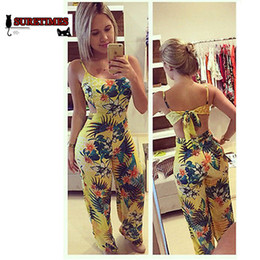 2727b83713fe 2018 Women Jumpsuits Rompers Lady Yellow Clubwear Summer Backless Bandage  Playsuit Bodycon Party Nice Trousers Plus Size XXXL