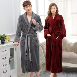 Hot Selling Lovers Long Warm Coral Fleece Bathrobe Men Winter Super Soft  Flannel Kimono Bath Robe Male Dressing Gown Mens Robes 837c07e89