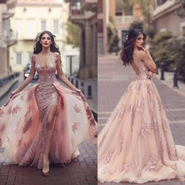 Discount dress pick up lines Saudi Arabic Overskirt Mermaid Evening Dresses 2018 New Design Blush Sheer Backless V Neck Appliques with Capes Long Pro