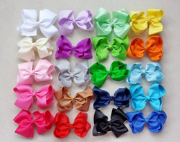 Discount hair color diy - 20pcs Gril DIY handmade Headwear big 4 inch grosgrain ribbon Bowknot hair bows hair clips hair accessories 18color HD321