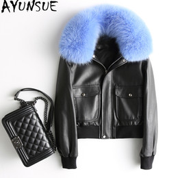 white leather fur collar Canada - wholesale Genuine Leather Jacket Women Short Warm Women's Winter Down Jackets Real Sheepskin Coat Natural Fox Fur Collar WYQ1970