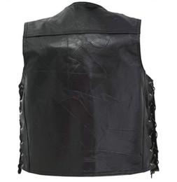 Wholesale leather vest men motorcycle resale online - Cool Knight Riding Vest S XL Plus Size Men Waistcoat Men Professional Motorcycle Leather Vest Leather Bust Mediation Cowskin Hot Sale