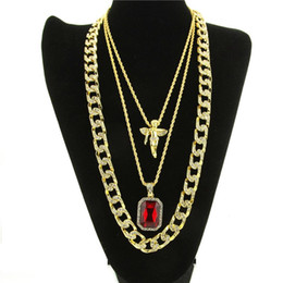 $enCountryForm.capitalKeyWord Canada - Red Stone, Micro Angel,Cuban Link Chain 3 Necklace Set Gold Plated Necklace Jewelry Hip Hop Necklace For Men Women