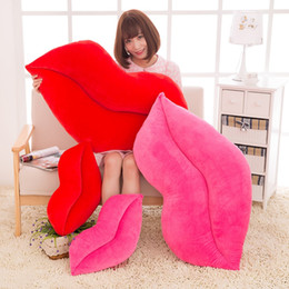 lips pop NZ - Pop Fashion Sexy Red Lip Plush Pillow Doll Large Stuffed Soft Anime Realistic Lips Toys Decoration 80cm 100cm
