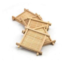 Kitchen Place Mats Australia - Bamboo Tea Cup Mat Square Coaster set Handmade Place mat For Kungfu Tea Set Kitchen Accessories Drink Tea Tools