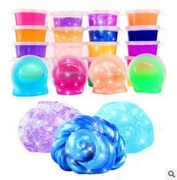 Vente en gros Boue colorée de cristal Boue de gelée non toxique 24 couleurs rougeoyante Ramen du sol DIY Jouets environnementaux Décompression