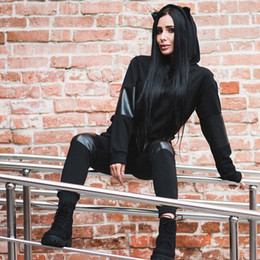Women Fashion Sport Set NZ - Russian Hot Selling Women Running Set Sports Jogging Suits 2 Pieces Set Black Hoodies PU Patchwork Gym Fashion Outfit Clothes