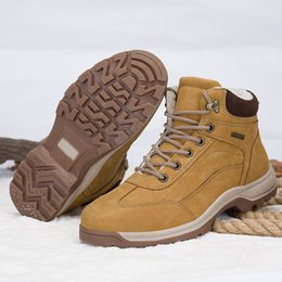 0219fcd6e3 High Quality Premium Ankle Boots for Men Hiking Shoes Winter Warm Snow  Boots Waterproof Outdoor Walking Work Safety Brown Black Plus size 46