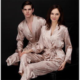 c8803239d1 Faux silk mens pajama sets men sleepwear male sleep lounge Chinese red  wedding Pijamas for women couple pajamas female pyjamas