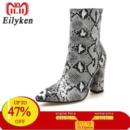 c808567c23cf Eilyken Women Zipper Boots Snake Print Ankle Boots Square heel Fashion  Pointed toe Ladies Sexy shoes 2018 New Chelsea Boots