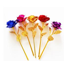 $enCountryForm.capitalKeyWord NZ - Romantic 24K Plating Golden Rose Flower Gold Foil Plated Artificial Wedding Festive Party Valentine Day Gift Stock