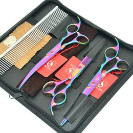 Rainbow sheaRs online shopping - Meisha inch Professional Animals Scissors Set for Dog Grooming Rainbow Curved Cutting Clippers Thinning Shears Styling Tools HB0102