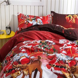 Christmas Quilts Wholesale UK - Santa Claus Christmas Gift Bedding Sets 4pcs Luxury Duvet Covers Simple Small Exquisite Quilt Cover Easy Carry 65bj cc