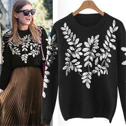 Brand Designer Women Luxury Sequins Sweaters 2018 Autumn Winter Leaf Embroidered  Wool Knitted Pullovers Casual Black Jumpers Tops Knitwear fa75c717b