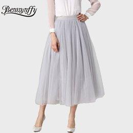 Bottoms Dynamic Summer Casual Skirts Women Girls Big Swing Tulle Pleated Tutu Skirt High Waist Net Midi Skirt Jupe Femme 2019 Women's Clothing