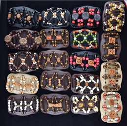 Hair barrettes beads online shopping - Women Wooden Magic Hair Comb Beads Mood Wood Barrettes Fashion Double Row Hot Accessories Hair Clips Different Styles AAA28