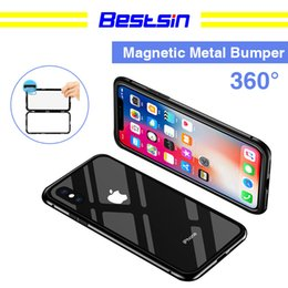 Chinese  Bestsin Magnetic Adsorption Metal Marvel Mobile Phone Case for Iphone 6 6s 6plus 7 7Plus 8 8Plus X with Luxury Tempered Glass Cover manufacturers