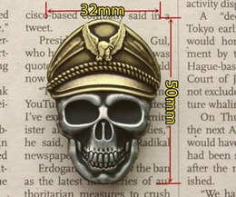 Skeleton Clothes Australia - Luxury Skeleton Officer Motorcycle Club Badge SKULL Eagle Wing Biker Brooches For clothes Hat Retro Metal Collar Pin Brooch