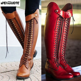 Long boot Laces online shopping - WEINUOTE Women s Fashion Horse Riding Boots Lace Up Flat Cross Strap Long Boots Vintage Leather Knee High Botte Femme