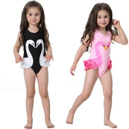 champagne swim wear NZ - Girls Swimsuit Cartoon Kids Swimwear with Swimming Cap Parrot Swan Flamingo baby girl bathing suit One Piece swim wear LC748
