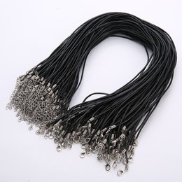 Chinese  Black Real Leather Cord Chain 50pcs lot 2mm chain Choker Necklace with Lobster Clasp Rope leather necklace for DIY Jewelry Findings Parts manufacturers